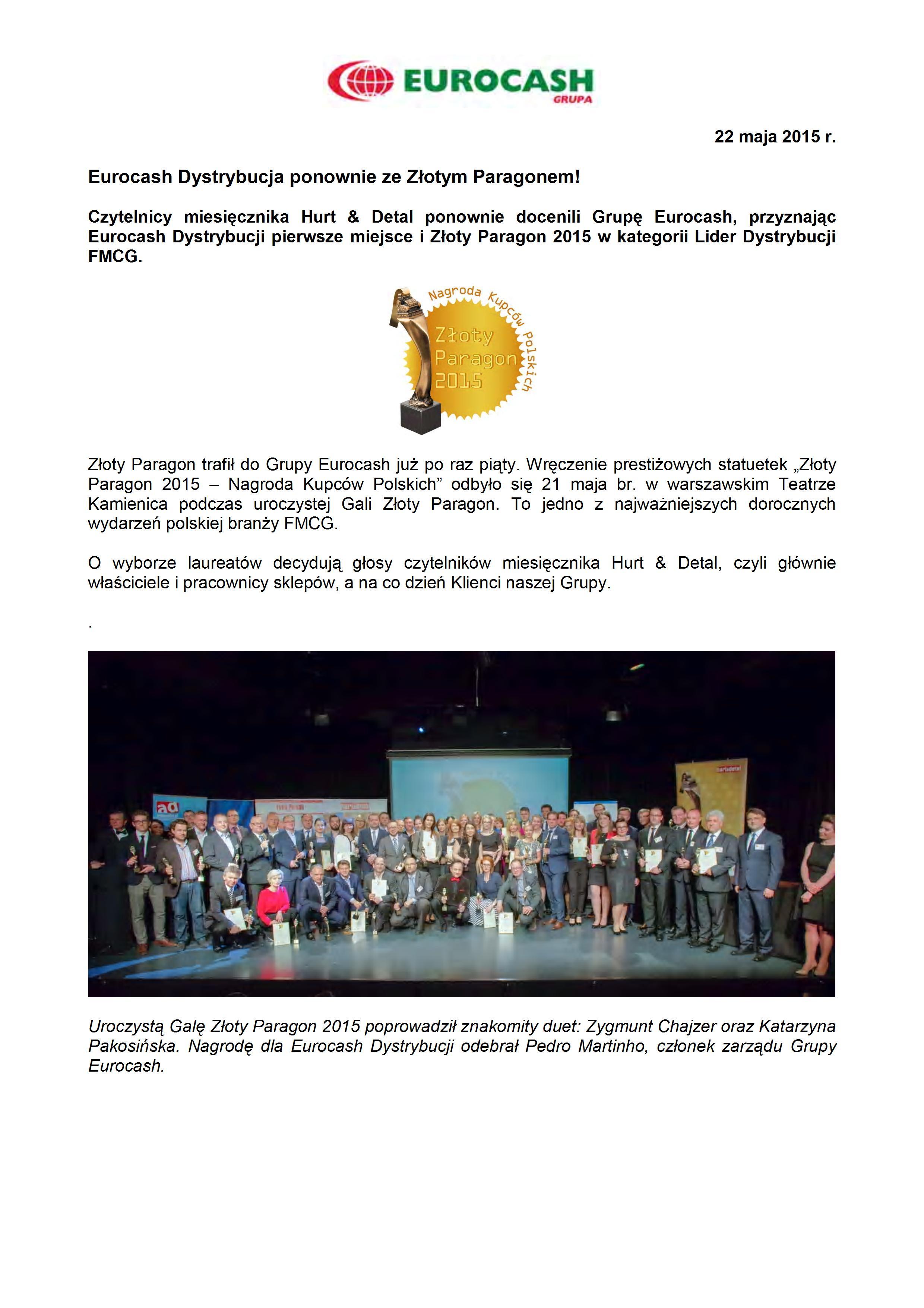 Złoty Paragon dla Eurocash Dystrybucja
